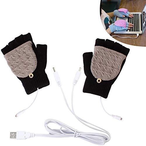 PYAPRON 남 USB 격렬한 장갑 조정가능한 온도는 겨울에는 풀반 따뜻한 손가락 노트북용 장갑 장갑 따뜻한 빨 수 있는 디자인 실내 또는 야외하고 사용하기 쉬운 검정