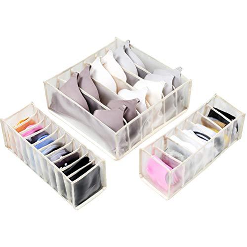 Wopohy Organizador de cajones para aparador, ropa interior, divisores de cajones, ropa interior, pantalones cortos, cajas de almacenamiento para ropa, sujetadores, calcetines, corbatas, bufandas
