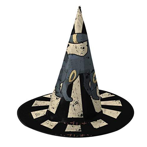 Sombrero de Halloween Umbreon Retro Japons Monstruo del Bolsillo Sombrero de Bruja Disfraz Unisex de Halloween para Vacaciones Halloween Fiesta de carnavales de Navidad