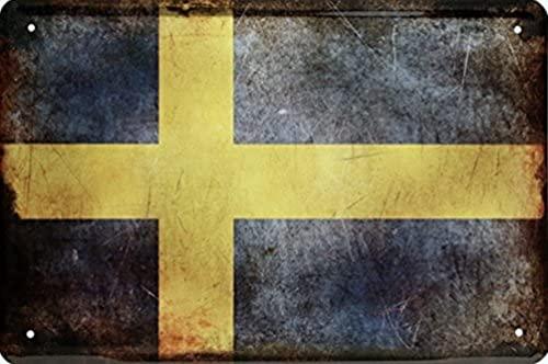 Länder Fahne Nationen National Flag Flagge Deko Blechschilder Wandschild Türschild (20 x 30 cm, Schweden Sverige 1435)