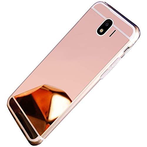 Uposao Kompatibel mit Samsung Galaxy J4 2018 Hülle Spiegel Handyhülle Mirror Case TPU Silikon Schutzhülle Bling Strass Ultra Dünne Weich Handyhülle Silikon Handy Tasche TPU Case,Rose Gold