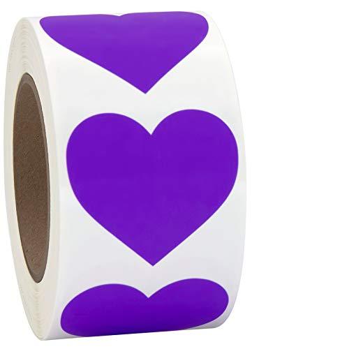 Purple Heart Shaped Sticker Labels, 1 1/2' Diameter, 500 per Roll, 1.5 inch