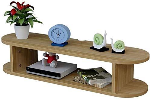 Rack de enrutador Control de televisión con Marco Flotante Colgante de TV Caja de Cable DVD Estante Decorativo Caja de Almacenamiento de Escritorio (Color : Wood)