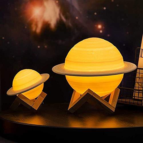 Zcm Tischlampe Fern 16 Steuer Farbe ändern 3D-Druck Saturn Lampe Galax Raum LED-Lampe Nachtlicht schnurlose Planeten (Lampshade Color : 13cm Saturn Light)