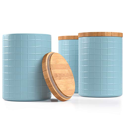Barnyard Designs Kitchen Canisters with Bamboo Lids, Airtight Metal Canister Set, Coffee, Sugar, Tea, Flour Storage Containers, Farmhouse Kitchen Decor, Seafoam Blue, 5.25' x 6.75', Set of 3