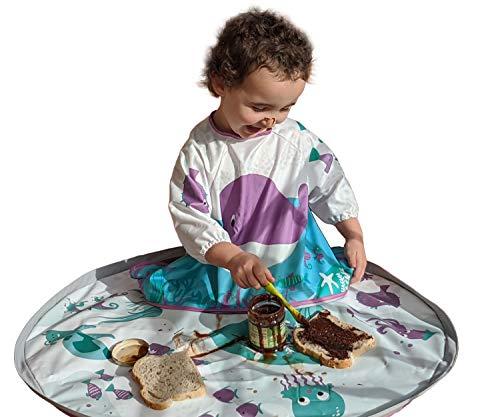 Conjunto de bandeja y babero babyLasai. Divertido y original diseño para bebés y niños/as. De 6 a 36 meses. Ideal para que tu hijo/a experimente mientras come o juega, sin ensuciar nada.