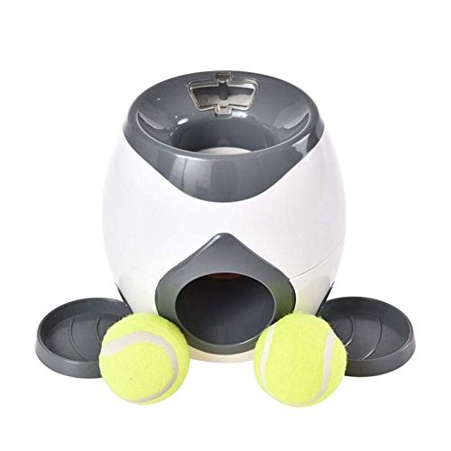 MZH 2 In 1 Creative Pet Dog Toy Interaktiver automatischer Ballwerfer Tennis Launch Throw Toy Belohnungsmaschine Nahrungsmittelspender