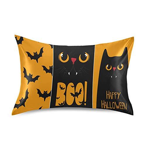 F17 Funda de almohada de satén para Halloween, gato, suave, transpirable, para sofá, para decoración de cabello, piel, sueño, 50,8 x 76,2 cm