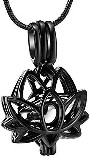Collar Mujer Collar Hombre Collar Con Colgante De Assh Lotus Collares Negros Vacíos Con Moda Urna Simple Ash Souvenir Colgante Embudo Kit Para Mamá Papá Mujer Hombre Perro Gato T Regalocollana Re