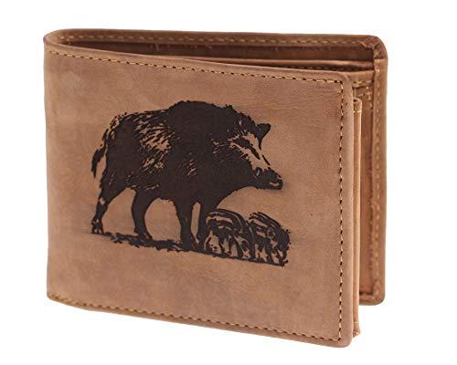 Greenburry Vintage Leder-Geldbeutel I Geldbörse mit Wildschwein Motiv I Leder-Portemonnaie für Jäger I Geschenk für Jäger I Lederbörse mit Wildsau Motiv I 12x10x3cm