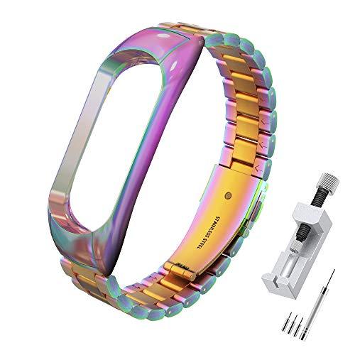 Simpeak Correa Compatible con Xiaomi Mi Band 5/6 (5.5-8.1 Pulgadas), Pulseras de Acero Inoxidable Wristband Repuesto Bandas Compatible con Xiaomi Mi Band 5 Fitness con Cerradura-Multicolor
