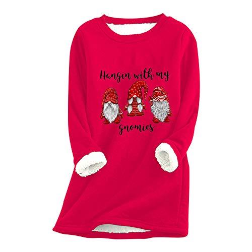 Xmiral Pullover Kleid für Damen Weihnachten Dickes Fleece Innen Warm O-Ausschnitt Unterwäsche Long Tops Sweatshirt(b-Rot,3XL)