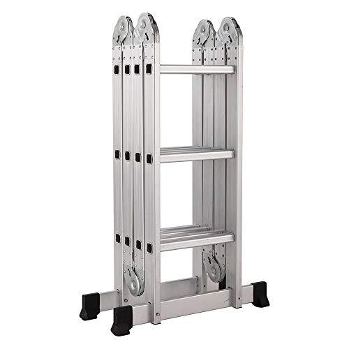12.5' Aluminum Multi Purpose Folding Ladder Scaffold Ladders - 330Lbs