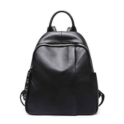 Heshe Womens Leather Black Backpack Casual Travel Ladies Daypack Multipurpose Fashion Bag (Black)