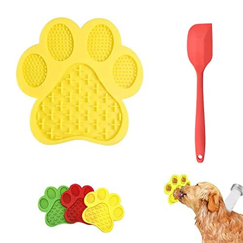 WELLXUNK Hund Lecken Pad,Lick Pad,Lick Mat,Silikon Leckmatte für Haustier mit Spatel,Leckmatte Hund Slow Feeder,für Pflegen und Hundetraining von Haustieren