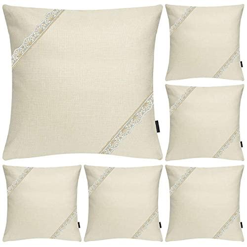 Hodeacc - Juego de 6 fundas de cojín de lino con rayas, suaves y sólidas, decoración para el hogar o el sofá.