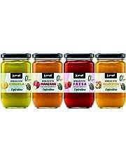 Mermelada Extra Jumel 0%, con Microalgas (ESPIRULINA) y STEVIA. Pack de 4 unidades. Multisabor: mermelada fresa, melocotón, manzana y ciruela.