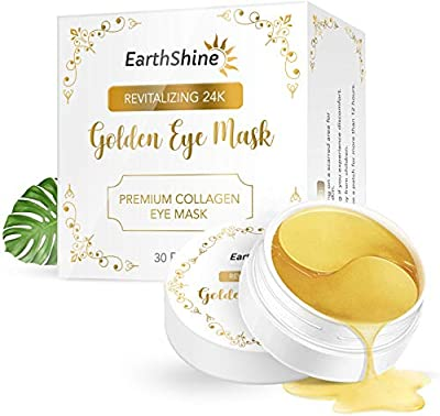24K Gold Under Eye Patches, 30 Pairs Eye Mask - Under Eye Gold Collagen Mask for Dark Circles, Puffiness, Wrinkles by Earthshine
