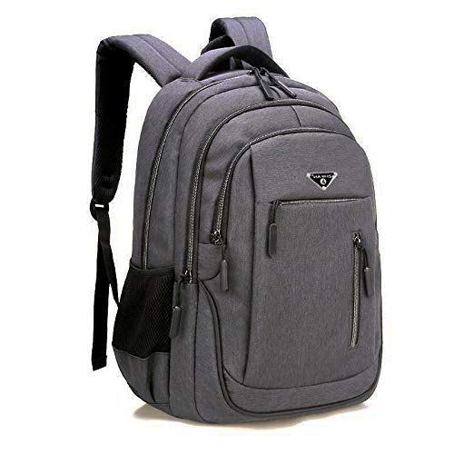 Laptop de Gran Capacidad para Hombres 15.6 Oxford Grey Solid High School Bags Teen College Student Mochila Multifuncional Mochila