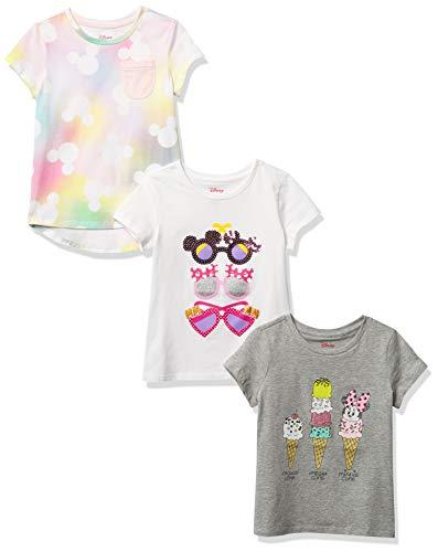 Spotted Zebra Girls#039 Kids Disney Star Wars Marvel Frozen Princess ShortSleeve TShirts 3Pack Minnie Summer Small