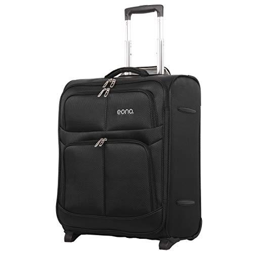 Eono Essentials 56x45x25cm 60L easyJet British Airways BA Jet2 Maximum Lightweight 2 Wheel Travel Carry On Hand Cabin Luggage Suitcase 56x45x25 Black
