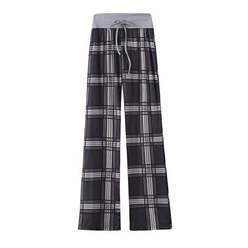 Hhckhxww Leopardenmuster Komfortable Casual Stretch Kordelzug Pyjamahose Wide Leg Pants Women