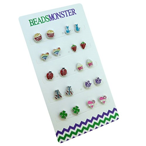 Color Enamel Silver Magnetic Clip On Studs Earrings Gift For Girls Kids Womens