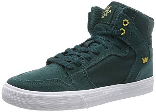 Supra Men Vaider Skate Shoe, Green (Evergreen/Gold-White 306), 9