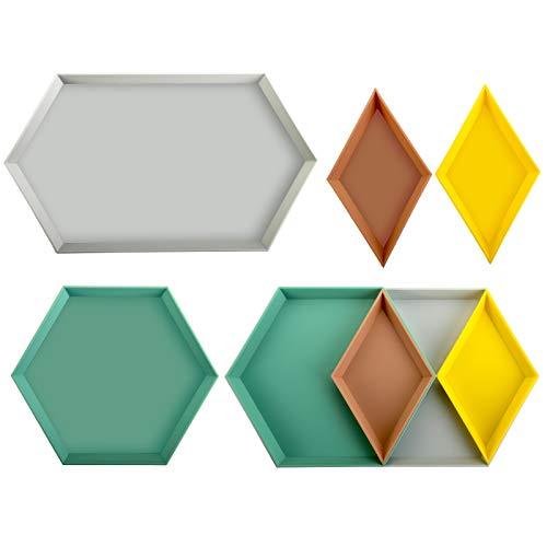 Yarlung 8 Pack Plastic Stackable Geometric Trays Versatile Jewelry Dish Decorative Tray for Food Serving Trinket Display Bathroom Vanity Storage Desk Organization