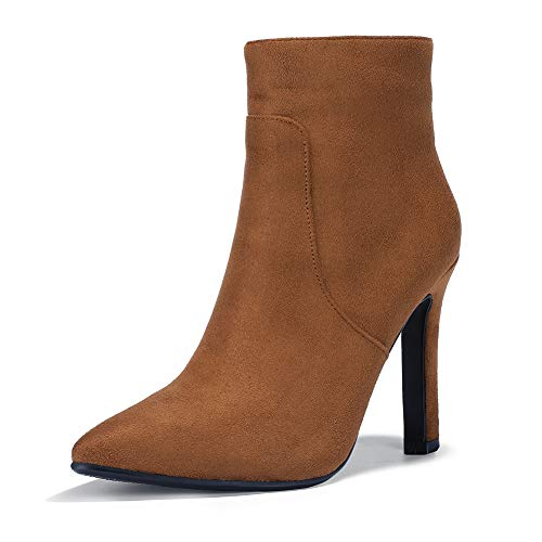 IDIFU Women's Fashion Ankle Boots Comfy Pointed Toe High Heels Side Zipper Booties (9.5 M US, Brown Suede)