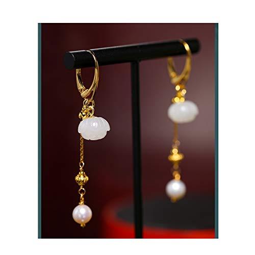 OUMIFA Pendientes de Perlas Pendientes de Perlas de Agua Dulce Brillante 6-7mm Pendientes de Jade Hetian para Novia S925 Silver Pendientes Colgantes y Colgantes para Mujer