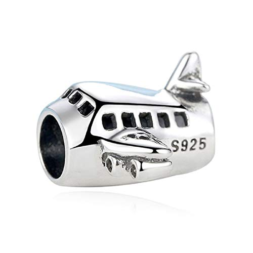 EVESCITY 925 Silver Airplane Air Plane Aircraft Beads for Charm Bracelets Best Jewelry Gifts for Travelers Vacations