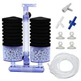 AQUANEAT Double Bio Sponge Filter, Quiet Aquarium Filter with Ceramic Media Balls, for Betta Fry Shrimp Tank with Airline Tubing, Air Pump Valves, Suction Cups (Large up to 75 Gal)