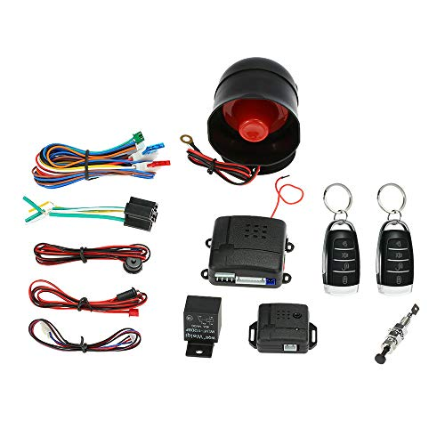 KKmoon Universal Car Vehicle Security System Burglar Alarm Protection Anti-Theft System 2 Black&Silver Remote Control