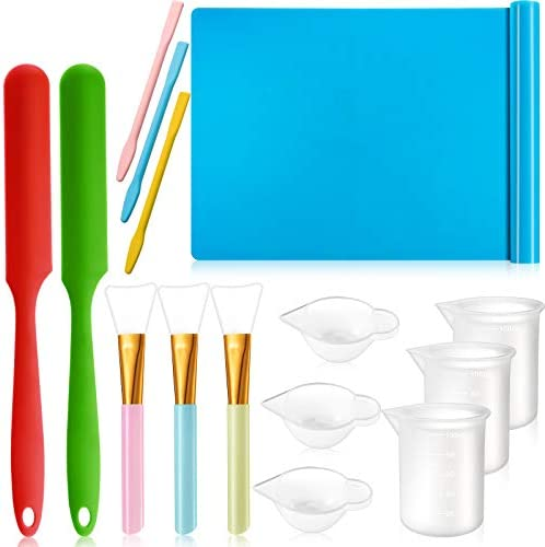 15 Pieces Resin Tool Kit Include A3 Large Silicone Sheet 100 ml Measuring Cup Silicone Mixing product image