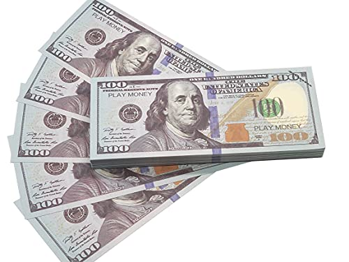 Motion Picture Money Prop Money Play Money 100 Dollar Bills,Game Money Replace Money Stacks in Pretend Play Counting Money for Classroom Management,Movie,TV,Birthiday Party