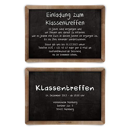 10 x Klassentreffen Einladungskarten individueller Text A6 - Schiefertafel Motiv