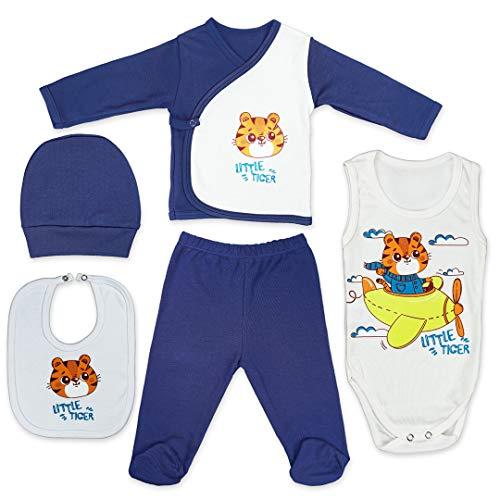 QAR7.3 Erstausstattung für Neugeborene - 5er Pack - 100{00d64368421dc11fd88e846815d39fd2ad60202f1b87019d26988e390d9654f3} Baumwolle - Bekleidungssets Baby Jungen - Body, Schlafanzug, Hose, Lätzchen und Mütze (Dunkelblau, 0-3 Monate)