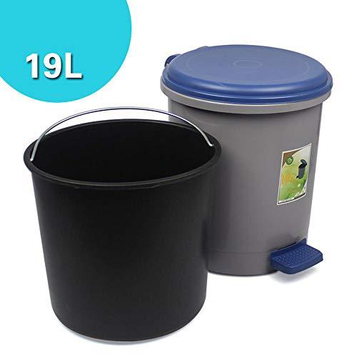 outdoor dustbins Pedal Mülleimer Badezimmer Runde Bin Verdickt 19l Kunststoff Mit Deckel Mülleimer Küche Flip Mülleimer-34.5 * 39cm Grey