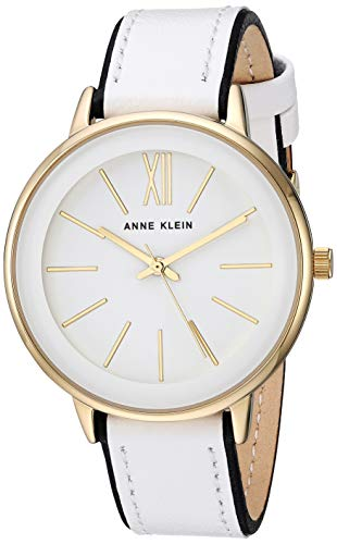 Anne Klein Women's AK/3252WTBK Gold-Tone Accented Black and White Leather Strap Watch