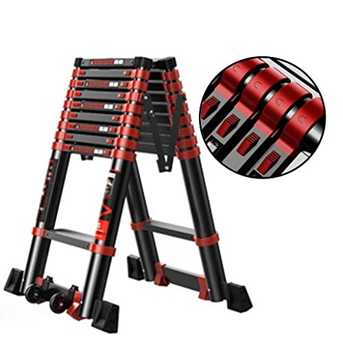 AA-SS Teleskopleiter Alu Klappleiter Treppenleiter Mighty Multi mit Mehreren Positionen für Treppen/Dachböden Dachzelt Wohnwagen Tragkraft 150kg, Aluminiumlegierung, 3.5m+3.5m