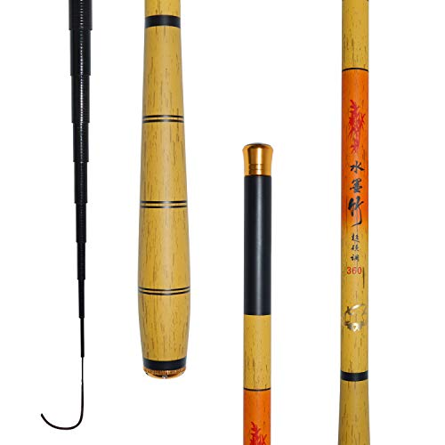 Gystour 渓流竿 ロッド 釣り竿 炭素繊維製 超軽量 超硬調 コンパクト延べ竿 小魚万能竿 3.6M