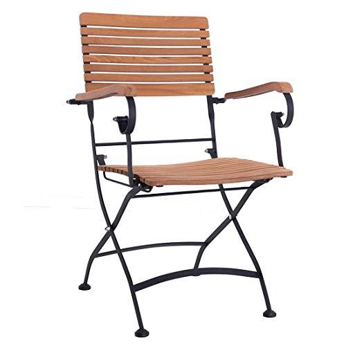 OUTLIV OUTLIV. Gartenstuhl Lindau Biergartenklappsessel Stahl/Teak Gartensessel Outdoor Stuhl Sessel Garten Terrasse Balkon