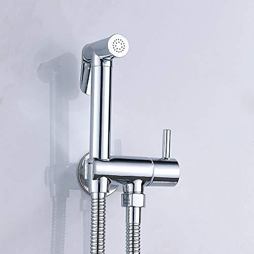 Grifo de bidé de mano para inodoro, rociador de ducha de bidé de baño, adaptador de latón en T, manguera, tanque, soporte enganchado, fácil instalación-1,5 M
