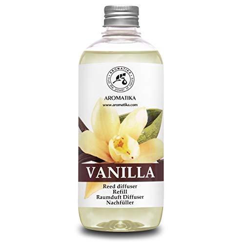 Recambio de Difusor Vainilla 500 ml - Aceite Esencial Puro & Natural Vainilla - Aroma de Intensas y Duraderas - 0% Alcohol - para Aromatizar el Aire en Cuartos - Baños - Hogares - Difusor Aroma