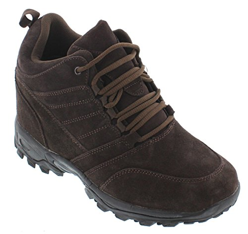 CALTO Men's Invisible Height Increasing Elevator Shoes - Dark Brown Suede Lace-up Hiking Boots - 4 Inches Taller - H0031 - Size 11 D(M) US