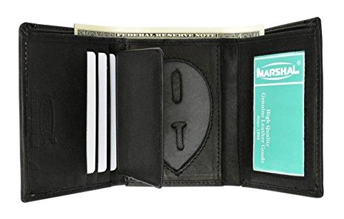 RFID Genuine Leather Trifold Badge Holder Wallet Black, Police Badge Holder