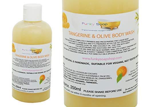 Funky Soap 1 Bouteille Mandarine & Huile D 'OL Ive Lave Corps 100% Naturel sans Laureth Sulfate de Sodium 250ml