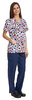 Scrubs For Women Medical Nurses Uniform Mock Wrap Floral Prints Top & Pants 6 Pocket Set Excellent Quality By Denice 1083