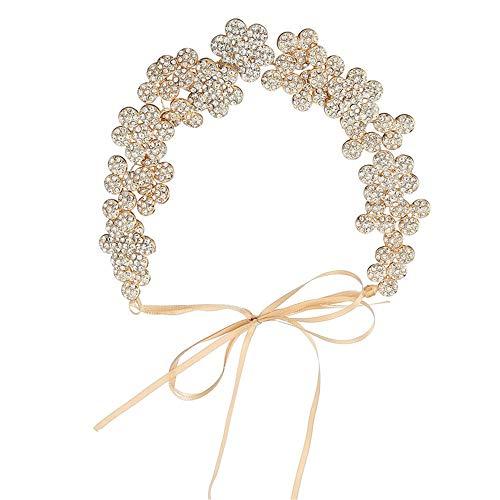 Corona Tiara Señoras hechas a mano Rhinestone flores tocado nupcial diadema corona redondo casco…